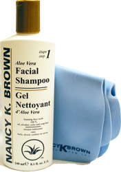 Aloe Facial Shampoo Gel Cleanser and Facial Shammy by Nancy K Brown